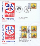 Greenland 1993;   The 50th Anniversary Of The Greenland Scouts, Single And Block Of 4 On FDC. - Scouting