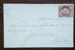 YT N°58 Sur Lettre - CERES 10c Brun Sur Rose - 1876 - Bénevent L'Abbaye Pour Gentioux - 1871-1875 Ceres