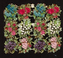 DIE-CUT -SCRAP - DECOUPIS  - Gaufré / Embossed - Flowers & Silk / Fleurs Soie - 2 Scans - Flowers