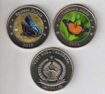 Western Noosa-Tenggara. 2 Coins On 1 Dollar. Butterflies. UNC. 2015 - Indonesia