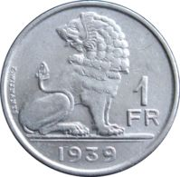 Belgium. Coin. 1 Franc. A Lion. 1939 - 1934-1945: Leopold III.