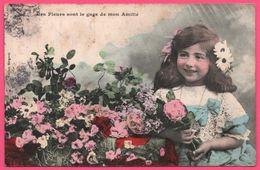 """Illustration BERGERET - """" Ces Fleurs Sont Le Gage De Mon Amitié """" - Fillette, Fleurs Dans Les Cheveux - 1906 - Colorisée - Bergeret"""
