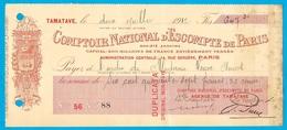 1912 COMPTOIR NATIONAL D' ESCOMPTE De PARIS (Duplicata - Original Non Payé) Agence De TAMATAVE (Madagascar) - Chèques & Chèques De Voyage