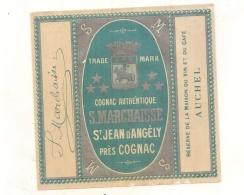 étiquette -  1920/1940 - Cognac Authentique MARCHAISSE Sain Jean D'Angely - étiquette Parafinée - Whisky