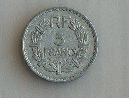 France 5 Francs LAVRILLIER, ALUMINIUM 1945 - France