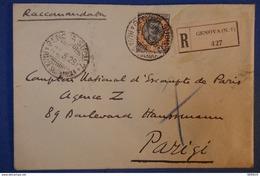 345 ITALIE LETTRE 1928 RECOMMANDé DE GENOVA A PARIS HAUSSMANN AFFRANCHISSEMENT PLAISANT - Marcophilie