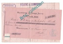 Montluçon, A. Cailhe, Brasserie De Terre-Neuve, Facture 1905 - France
