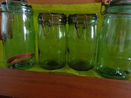 Lot De 4 Bocaux Vert - - Solidex  -1 Litre- - Dishware, Glassware, & Cutlery