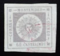 1859 Uruguay Yvert 7 Cifras Finas 60 C. - Chiffres Maigres Matasellos Violeta - Cachet Violet - Violet Postmark - Uruguay