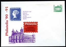 BLAUE MAURITIUS East Germany STO Envelope PU17 C2/001-1 PHILATELIA Cologne 1991 Cat. 9,00 € - Briefmarken Auf Briefmarken