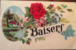 """Cpa, Illustrateur, Fantaisie,"""" Baisers"""" Médaillon Avec Paysage Champêtre Et Décoration Bouquet De Fleurs, éd ML Paris, - 1900-1949"""