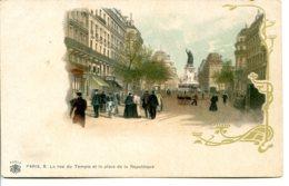 75003 PARIS - La Rue Du Temple Et La Place De La République - Héliogravure Massias - District 03