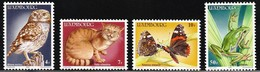 1985 Luxembourg Endangered Wildlife: Little Owl, Wild Cat, Red Admiral Butterfly, Tree Frog Set (** / MNH / UMM) - Owls