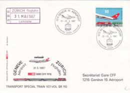 Transport Spécial Train 107-VOL SR 110 Genève-Zürich, 25 Au 31.5 1987 - Poste Aérienne
