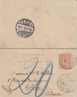 ALSACE ET HAUTE VIENNE ENTIER CL MOUCHON 15C 1903 LIMOGES GARIBALDI => COLMAR TAXE MANUSCRITE 20 ( PLI ) - 1877-1920: Periodo Semi Moderno