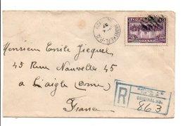 CANADA LETTRE RECOMMANDEE POUR LA FRANCE 1937 - Lettres & Documents