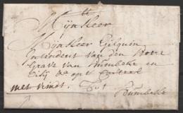 L. Datée 8 Mars 1772 De Lyspeloo ? Pour HUMBEKE - Port Express - 1714-1794 (Pays-Bas Autrichiens)