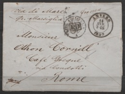 """L. Datée 14 Avril 1859 De ANTWERPEN Càd ANVERS /14 AVRIL 1859 Pour ROME - Càd """"BELG. A QUIEVRAIN"""" - """"via Di Mare"""" Par MA - 1815-1830 (Dutch Period)"""