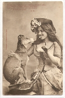FF 756 OLD ( 1904) FANTASY POSTCARD ,  FINE ART  , FEMALE FIGURATIVE , DOGS - Mujeres