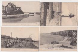 27803 Lot 4 Cpa SAINT VALERY En CAUX Plage Panorama Chateau Trompette Port Phare Marée Basse - Saint Valery En Caux