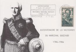 Carte    FRANCE   Bicentenaire  Naissance  Du   Maréchal   BUGEAUD    LANOUAILLE    1984 - Marcophilie (Lettres)