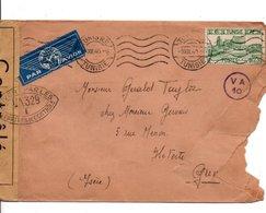TUNISIE LETTRE POUR LA FRANCE 1940 OUVERTE PAR LA CENSURE - Storia Postale