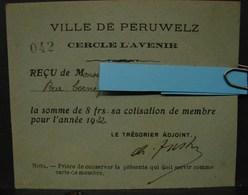 D.H. 163. Carte De Membre Du Cercle L'Avenir  De Péruwelz En 1932 - Documents Historiques