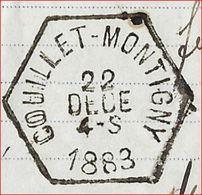EXPEDITIE ; Document Van Firma DELLOYE - MATTHIEU Met HEXAGONE Afstempeling Van COUILLET - MONTIGNY Dd. 22/10/1883 ! RRR - Railway
