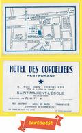 SAINT-MAIXENT L'ECOLE 72 Deux Sèvres ♥️ ♥️☺♦♦ HOTEL DES CORDELIERS RESTAURANT  ֎ 8, Rue Des Cordeliers Carte Commerciale - Andere