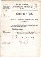 """MILITAIRE -- """"Certificat D'un Concours D'Admission à L'ECOLE IMPERIALE POLYTECHNIQUE""""- - Vieux Papiers"""