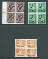 Seychelles 1938 KGVI 2c Palm 3c Turtle & 6c Orange Definitive MNH Blocks Of 4 - Seychellen (...-1976)