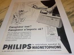 ANCIENNE   PUBLICITE MAGNETOPHONE PHILIPS 1963 - Autres Appareils
