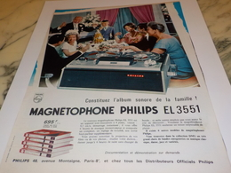 ANCIENNE  PUBLICITE ALBUM SONORE MAGNETOPHONE PHILIPS 1964 - Other