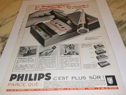 ANCIENNE   PUBLICITE MAGNETOPHONE PLUS SUR PHILIPS 1969 - Música & Instrumentos