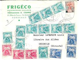 1960- Enveloppe Affr. 25 F  TAXEE Au 2ème échelon De Poids à 40 F.  ( Petites Valeurs - Marcophilie (Lettres)