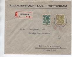 1928 - ENVELOPPE RECOMMANDEE De ROTTERDAM Pour LONS LE SAUNIER (JURA) - Poststempel