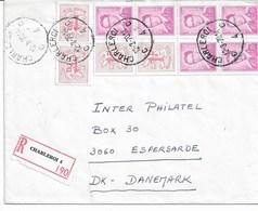 Lettre Recommandée CHARLEROI 4 Du 12/3/1970 TP. Carnet B.2 + 1484 Vers DANEMARK - Markenheftchen 1953-....