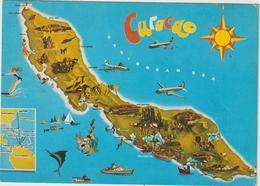 Amérique :  Curacao  :   Carte  Géographique   1983, Map Is  Island - Cartes Postales