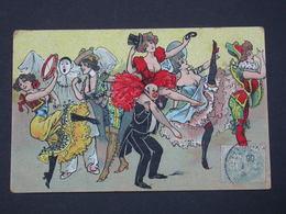 Ref6026 CPA Humour Comic Danse French Cancan - Dessin Avec Femmes Aux Seins Nus Et Polichinelle 1906 - Humour