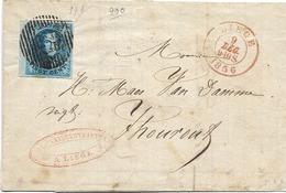 """SH 0480. N° 7 Grand Bdf Gauche - 4 Marges - 1 Voisin P 73/LIEGE 9 DEC 1856 S/LAC """"Vanderstraeten - Draps..."""" V. THOUROUT - 1851-1857 Médaillons (6/8)"""