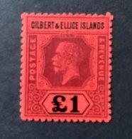 10098 -  Gilbert &  Ellice Islands George V No 24  1 Livre Rouge Neuf (cote 1100 Euros) - Gilbert & Ellice Islands (...-1979)