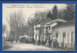 CONDE-en-BRIE    Le Café De La Gare  Automobile De Louage  Animées   écrite En 1924 - Frankreich