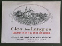 BOURGOGNE ETIQUETTE CLOS DES LANGRES - Bordeaux