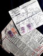 TIMBRES FISCAUX  60 C  40 C  ET DE DIMENSION 5 FRANCS SUR COUPURE DE JOURNAL ET RECU - Postmark Collection (Covers)