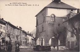 FRANCE CARTE POSTALE DE CONFLANS  LA PLACE ET LE PALAIS PISAN - Frankreich