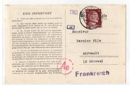 D7 06 01 1943   Carte LETTRE Commerciale De Commande De Potassium Alsace Occupée/france Censurée - Marcophilie (Lettres)