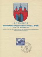 Deutsches Reich 803 Auf Gedenkblatt Briefmarkenausstellung Bromberg Sonderstempel - Deutschland