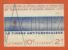 FRANCE ERINNOPHILIE CARNET TUBERCULOSE 1935 VARIETE DE DECOUPE PUB HEUDEBERT LESIEUR GIBBS - Erinnophilie