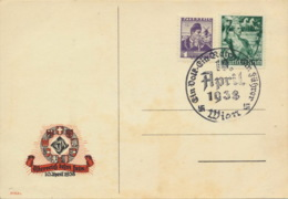 Deutsches Reich 660 + Österreich 567 Auf Karte Sonderstempel Wien - Deutschland