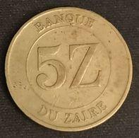 ZAIRE - 5 ZAIRES 1987 - Mobutu - KM 14 - Zaire (1971 -97)